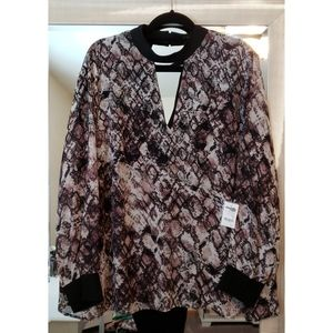 NWT snake print double layer blouse